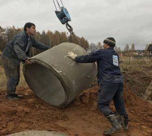 Разгрузка бетонного кольца для септика